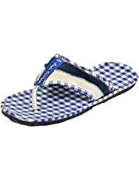 Style centrum Men's Blue White Leather Slippers