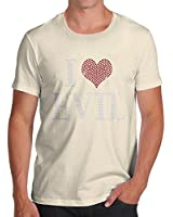 Men's I Love Evil Rhinestone Diamante Organic Cotton T-Shirt