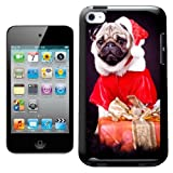 Fancy A Snuggle Pug Dog Dressed as Santa Design Hard Back Case Cover for Apple iPod Touch 4th Generation