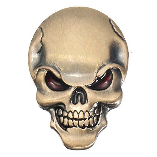 JenNiFer Banggood 3D Dämon Schädel Metall Aufkleber Knochen Emblem Abzeichen Aufkleber Für Auto Motor Truck - Silber
