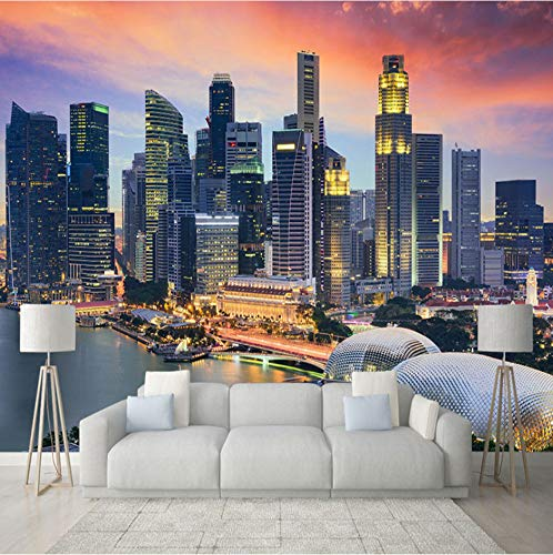 Fototapete 3D Stadtgebäude In Singapur Nachtansicht Wandbild Wohnzimmer Büro Hintergrund Wand Dekor Moderne Kreative Fresko, (B) 260X (H) 180Cm
