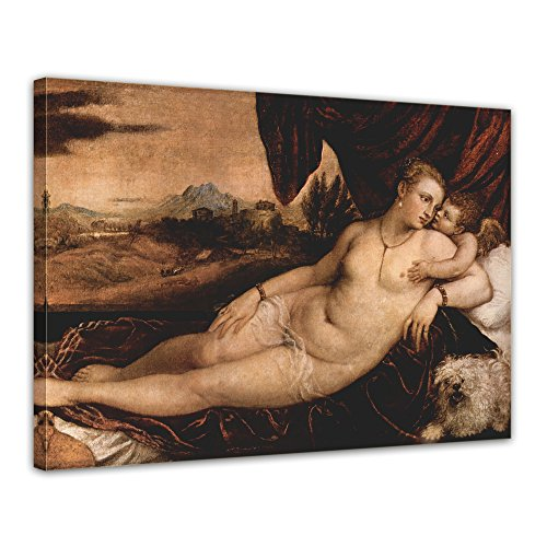 Kunstdruck-mit-Winter-SALE-Tizian-Venus-mit-Orgelspieler-Amor-und-Hund