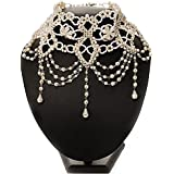 Ivory Cream Beaded Moulin Rouge Ball Multi Drop Flower Bridal Choker Necklace