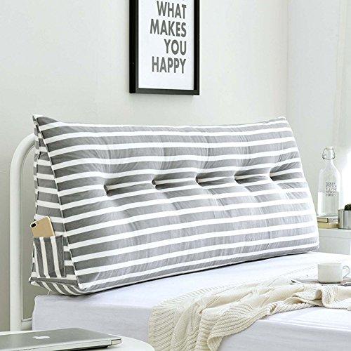 WENZHE Kopfteil Kissen Bett Rückenkissen Rückenlehne Für Bett Bettkeile Keilkissen Dreieckig Tuchkunst Streifen Prinzessin, 5 Farben (Farbe : 3#, größe : 120×20×50cm)