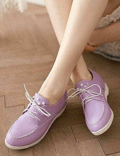 ZQ Scarpe Donna - Stringate - Ufficio e lavoro / Formale - Punta arrotondata - Zeppa - Finta pelle - Nero / Rosa / Viola / Bianco , purple-us10.5 / eu42 / uk8.5 / cn43 , purple-us10.5 / eu42 / uk8.5 / white-us5.5 / eu36 / uk3.5 / cn35
