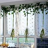 LnLyin Floral Embroidered Hebe Tüll Fenster Tür Balkon Hebe Vorhänge Schals Schabracken, 80 * 150