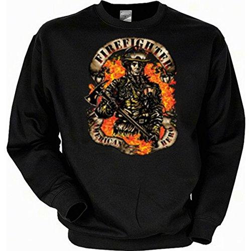 rwehr Emergency Firefighter Sweatshirt Gr L in schwarz (Biker Halloween Kostüme Für Hunde)