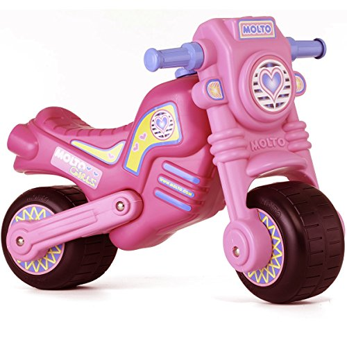 Rutsch Motorrad mit breiten Reifen, dient als Lauflernhilfe für die Kleinen, geeignet für Innen und Außen, Robust, Lauflernrad fürs Gleichgewicht, Rosa für Mädchen, Kinder Bike ab 18 Monaten