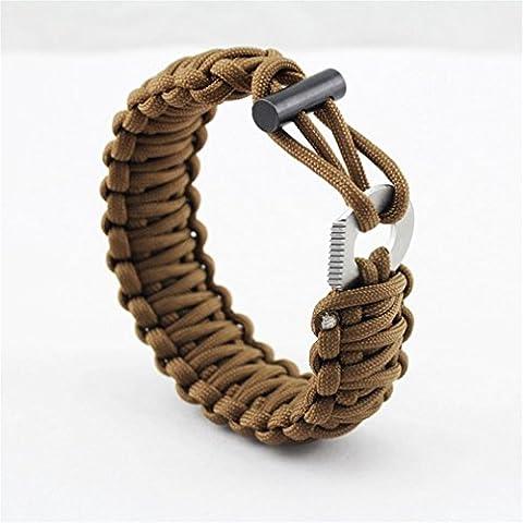 mhgao emergencia pulsera Kit, cable de paracaídas, Fire Starter, herramientas de corte, silbato de supervivencia, hebilla de bloqueo, 3