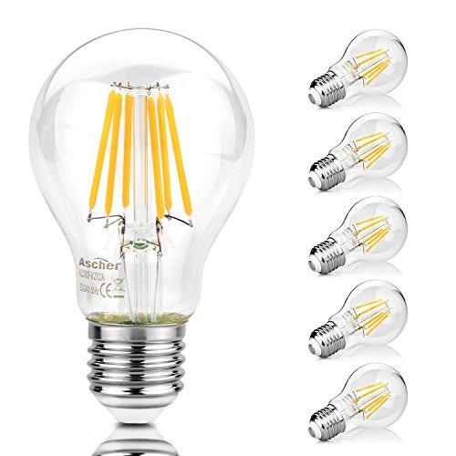5er Pack E27 LED Lampe, Ascher 8W E27 LED Lampe, Ersetzt 75W Halogen, 1000Lumen, Warmweiß 2700K,LED Leuchtmittel 300°, Nicht Dimmbar