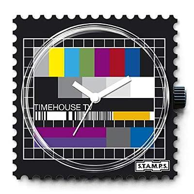 S.T.A.M.P.S. Stamps-Esfera Test Pattern Completo Reloj con pulsera de piel gris