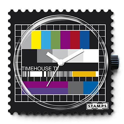S.T.A.M.P.S. Stamps Uhr komplett - Zifferblatt Test Pattern mit grauem Lederarmband