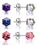 Best Mom Earrings - Stud Earrings 3 Colour Pack Swarovski Crystal Aurora Review