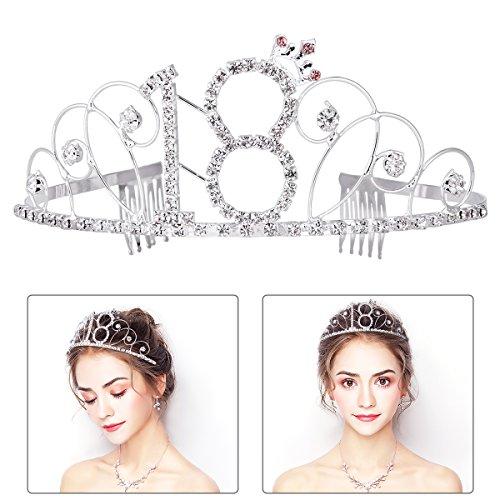 Frcolor Alles Gute zum Geburtstag 18. Silber Kristall Tiara Krone (Tiara-haar-zubehör)