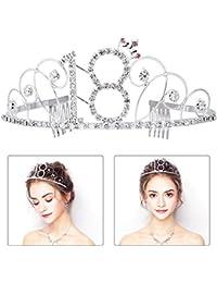 FRCOLOR Happy Birthday 18th Silver Crystal Tiara Birthday Crown