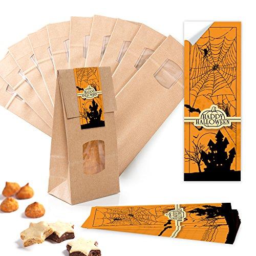10 Stück kleine braune Block-Bodenbeutel MIT FENSTER + Pergamin-Einlage 10,5 x 6,5 x 29 cm + 10 orange schwarze Geisterschloss Spukschloss HAPPY HALLOWEEN Aufkleber - für Süßigkeiten