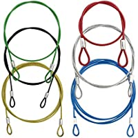 YuCool 6 Pack Safety Stainless Steel Tethers, Colorful Coated Lanyards Compatible with All GoPro Hero Series and Other Camera Devices- Red, Green, Silver, Black,Yellow,Blue