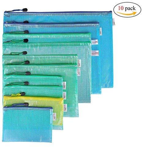 Dokumententasche,Transparent Reissverschlusstasche Datei Taschen Wasserabweisenden PVC 10 Stücke für A3 B4 A4 B5 A5 B6 Zufällige Farbe