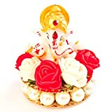 #2: Lord Ganesha Idol on Ornamental Base of Red and White Flowers and Pearls, for Car Dashboard / Home Decor / Office Showpiece