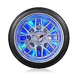 Vinteen Persönlichkeit Auto Reifen LED Nachtlicht Mute Wanduhr Kreative Wohnzimmer Schlafzimmer Quarz Horologe (mit oder ohne Lichter) Optional Uhren und Uhren ( Größe : 36cm in diameter )