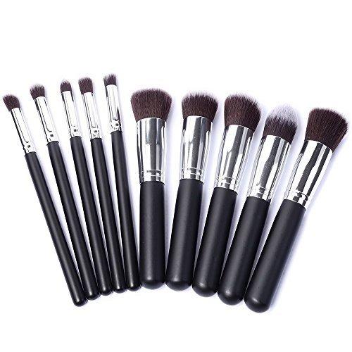 10 pièce professional pinceau de maquillage cosmétique Kit brosse Pistolet mettre le maquillage Brosses Brosse Argent avec