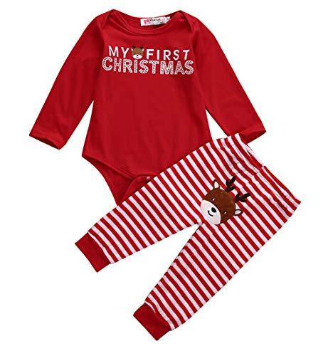 Wieder Kostüm 17 - BriskyM Xmas Infant Baby Boy Girl 2 STÜCKE Weihnachten Hirsch Gestreiften Overall Kostüm Outfits (Rot, 12-18m)
