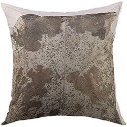 Hunter qiang po Housse de Housse de Coussin décorative pour canapé-lit Home Decor, taie d'oreiller avec Fourrure en Simili Cuir de Vachette tacheté Brun, Taille 18 po * 18 po