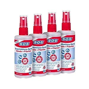 SOS Desinfektions-Spray: Desinfektionsmittel zur gründlichen und schnellen Hand- & Flächendesinfektion, 4 x 100ml