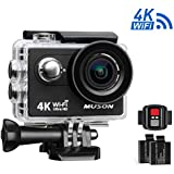 Muson MC2 Action Camera 4K WiFi Sports Camera DV Recorder 2.0'' Screen 12MP 170 Degree Wide Angle 30M Waterproof With 2.4G Remote Control And 19 Accessories Kits