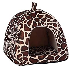 Rrimin Pet Dog Cat Bed House Kennel Doggy Puppy Basket Pad(Leopard L)
