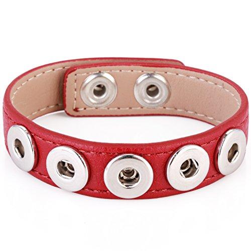 Morella® Damen Armband für SMALL Click-Button Druckknopf 12 mm Ø - rot