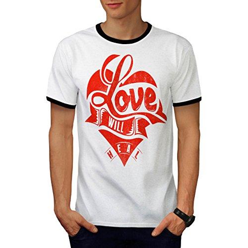 Liebe Wille Heilen Valentine Gebrochen Herz Herren S Ringer T-shirt | (Kostüm Halloween Maria Mutter)