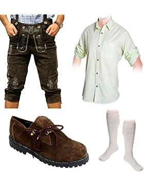 Herren Trachten Set D 5-teilig Trachten Lederhose dunkelbraun 46-60 Trachtenhemd Schuhe Socken Oktoberfest