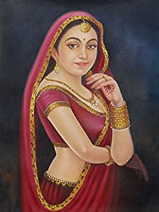 indian woman painting fine art paper hd wallpaper poster amazon in