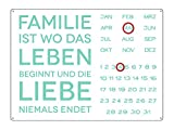 INTERLUXE WANDKALENDER Blechschild Kalender FAMILIE IST WO DAS LEBEN BEGINNT Shabby Vintage Geschenk Dekoration Haus Wohnung