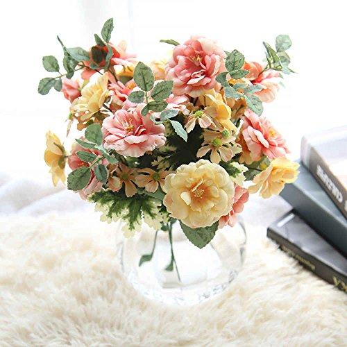 Künstliche Blumen, künstliche Blumen Seide Kunststoff Hochzeit Sträuße Home Dekoration Camellia 5Ast 10Köpfe, 2Stück, plastik, Mutil, 34cm x 7cm