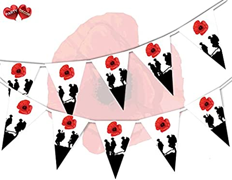 Poppy Appeal Remembrance Day With Army Man Soldier theme bunting banner 15 flags 12ft for guaranteed simply stylish party National Royal Patriotic decoration by PARTY