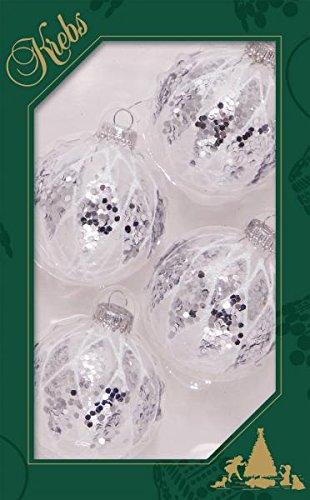 7cm Kugel Klarglas mit Glitter und Strassdeko