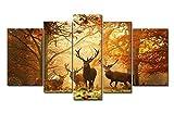 5-teiliges Wandbild, Hirsche im Herbstwald, auf Leinwand gedrucktes Kunstwerk, moderne Dekoration fürs Zuhause, Ölfarbe