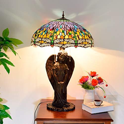 Nuofake Lampada da tavolo blu mediterranea retrò di lusso creativo lampada da tavolo in stile tiffany illuminazione paralume in vetro colorato lampada da tavolo da salotto di grandi dimensioni, spina