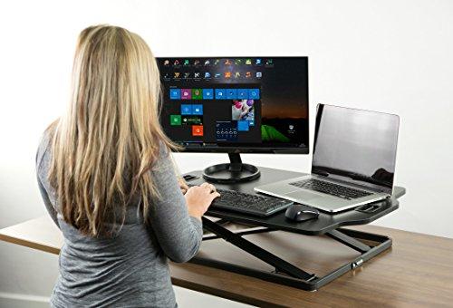 PUTORSEN Höhenverstellbar Sitz-Steh-Schreibtisch Computertisch - Schreibtischaufsatz Steharbeitsplatz Standtisch - Tabletop Stehpult Konverter für Ergonomic Comfort (32'' - Schwarz) - 5