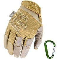 Mechanix Wear Specialty High Dexterity - Guantes tácticos, 0,5mm, transpirables y ergonómicos + mosquetón, color negro, coyote / Talla S, M, L, XL, Marrón