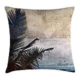 tyui7 Funda de cojín Decorativa Almohada Hojas de Palmera en el Fondo de Grunge con mar Vintage Waterscape Ilustración Pillowcase 45x45 cm Azul Marino Beige