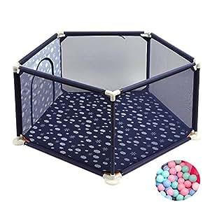 Parc- pour Bébé avec Balles, Clôture De Jeu À Crawler pour Bébés De 5 Panneaux, Jardin De Jeu pour Enfants - Rose, Bleu (Couleur : Bleu)