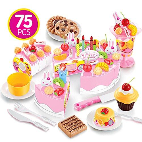 DIY Cut Birthday Cake Dessert Pretend To Play Girls Pink Children Plastic Present Candle Kitchen Kitchenware Toys 75PCS With Sound And Light