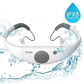 Tayogo IPX8 Imperméable Lecteur MP3 Natation Etanche avec écouteurs 8GB Mémoire Utilisé sous l'eau 3m Parfait pour Natation Course Marche et Autre Sports Lecture Séquentielle/Aléatoire(Blanc)