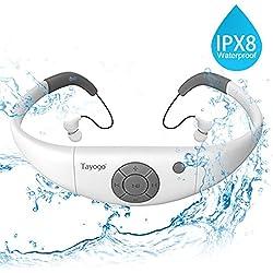 Tayogo MP3 Etanche Nation IPX8 Baladeur Mp3 Sport 8Go Disque U Amovible Parfait pour Natation Sports Fitness-Blanc