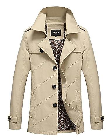 Manteau Classique Long Homme - LaoZan Veste Trench Coat classique manteau court