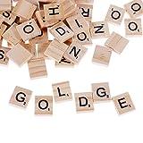 GOLDGE 100 Stück Scrabble Buchstaben Holz Buchstabe Fliesen zum Spielen, Lesen für Vorschule Kinder Bildung ,DIY Handwerk Dekoration