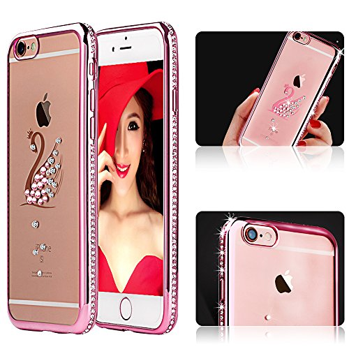 PLECUPE Hülle für iPhone 6 Plus, Electroplate Brillant Glitter Sparkle Diamond Kristall Weich TPU Silikon Gel Transparent Klar Clear Cover Handyhülle Skin für iPhone 6Plus/6s Plus (Rose Gold Schwan) (Hybrid Case 6plus Iphone)